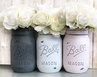 Powder pink, steel gray, white | Painted and distressed Mason jars, kitchen, storage solution, desk accessory, centerpiece, chalk paint vase