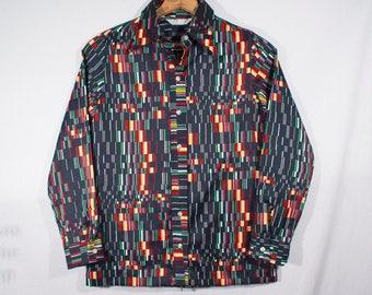 Vintage 1970s Wrangler Hip Mod Disco Psychedelic Wing Collar Button Down Shirt