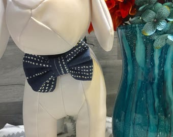 Blue pinstripe small bow (bow tie)