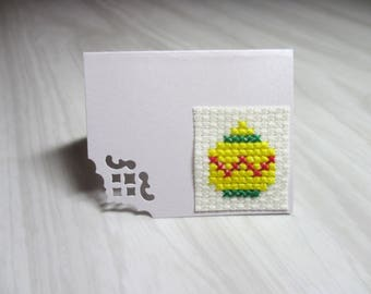 "Mini Card embroidered square ""Yellow Christmas ball"" brand"