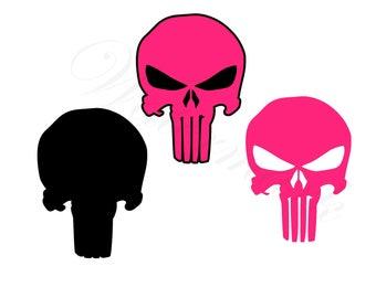 Skull SVG & Studio 3 Cut File Cutouts Files Logo Stencil for Cricut Silhouette Fan SVGS Stencils Decals Skull Cutout Pink Punishers Punisher