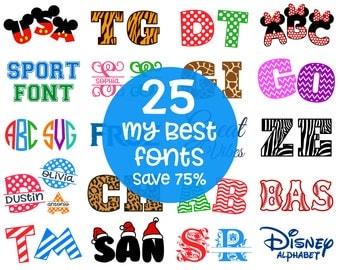 Monogram Fonts Bundle Svg Cutting Alphabets, Patterned Letters & Numbers, Chevron, Polka dot, Split, Disney, Mickey Fonts Svg Dxf Png Eps
