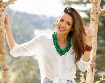 Turquoise Acai Multistrand Statement Necklace