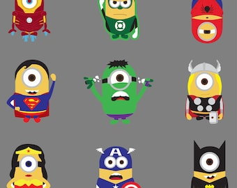 Minions Super Heros.Svg.Dfx.Eps.Pdf.Png.