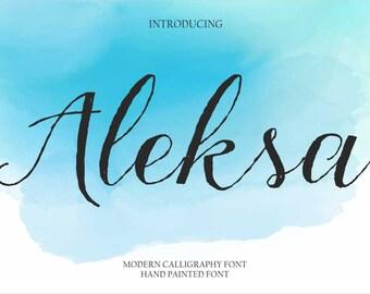 Calligraphy Font Handwritten Script Wedding Watercolor Instant Download - Aleksa Font