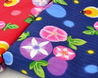 Japanese traditional soft ipomees fireflies x50cm Navy background