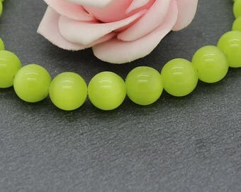 10 round cat eye beads 10 mm lime green color PV110