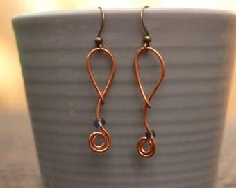 Copper Swirled Earrings