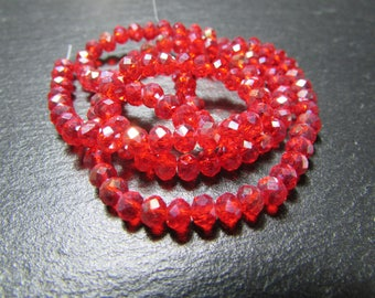 set of 30 iridescent 4 mm Red Crystal beads
