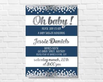 Blue and silver sprinkle invitation boy, Boy baby shower invitation, Blue baby shower, Silver baby shower printable, Blue and silver theme
