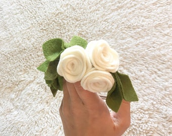 Roses and leaves Felt Floral Headband