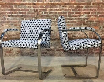Ludwig Mies van der Rohe designed Pair flat bar Brno dining Chairs *Newly upholstered