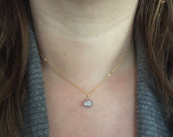 Silverite Teardrop Pendant Necklace, Layering Stacking Necklace, Boho Style Boutique Jewelry, Specialty Gems, Artisan Handcrafted in CA