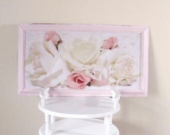 Shabby Chic Floral Picture, Cottage Picture, Cottage Decor, Large Floral Picture, Pink Frame