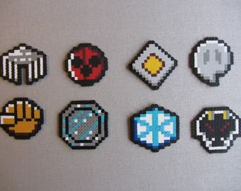 Hama Bead Pixel Creation - Johto League Badges from the Pokemon Game Series