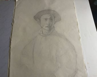 Pencil drawing on paper depicting a boy