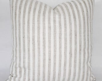 """18"""" Tan and White Striped Pillow Cover - Designer Fabric - Striped Pillow Cover - Striped Accent Pillow - Tweed Contrast Back"""