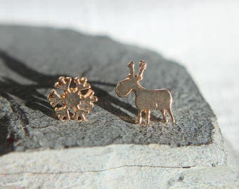 Reindeer and snowflake Christmas gift Christmas earrings in silver, gold