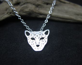 Cheetah Tiger Cat Necklace silver PLATED