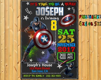 Captain America Invitation, Captain America Birthday Party, Avengers, Superhero, Superheroes, Captain America card, Printable, Digital File