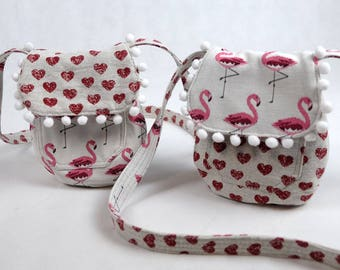 Girl's shoulder bag - reversible- Flamingos / Hearts, handbag girl, children's gift, girl's gift