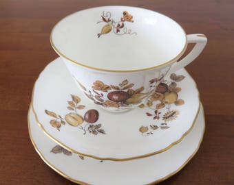 Royal Worcester Golden Harvest trio, fine bone china teacup saucer and side plate, gold and brown fruit flower pattern
