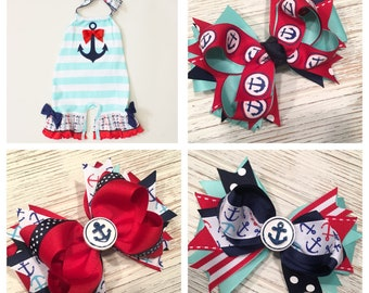 Made to match RicRac and Ruffles My Anchor hair bow, anchor hairbow, anchor hair clip, nautical hair bow, nautical hairbow, nautical clip