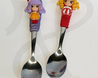 Teaspoons with manga-style dolls