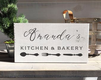 personalized wood sign-kitchen sign-kitchen decor-farmhouse kitchen sign-wood sign-personalized gift-wood sign-shabby-cottage-kitchen-bakery