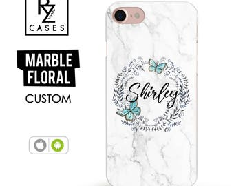 Marble Phone Case, Custom Name Phone Case, iPhone 7 Case, Floral Custom Case, Personalized Gift for Her, iPhone 7 Plus, iPhone 6S Case, Cute