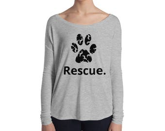 Animal Rescue Paw Print Graphic Tee Ladies' Long Sleeve Tee