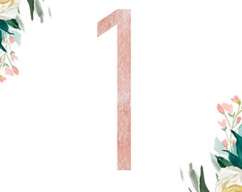 Rose gold wedding Table Numbers