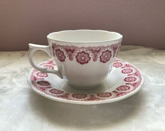 Nikko Perfection Pink Kingstone flat teacup and saucer