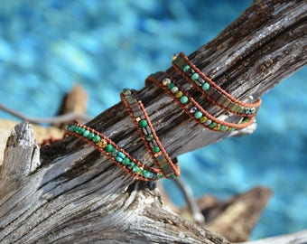 Turquoise Green multi bead wrap bracelet-non-leather
