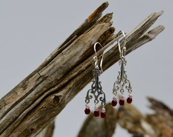 Sterling Silver and Ruby Garnet Earrings