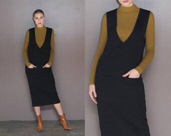 90s Black Wool Midi Dress Deep V Neck Sweater Dress Black Knit Wool Dress Minimal Mod Overall Dress