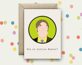Dwight Shrute Pop Art and Quote A6 Blank Greeting Card with Envelope