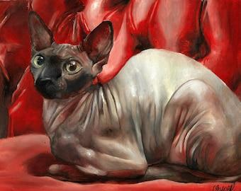 Sphynx Cat Art Print Wall Art Decor