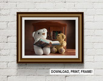Teddy bears reading book, bear reading, Teddy bears print, Plush bears, wall art, decor, nursery room decor, printable art