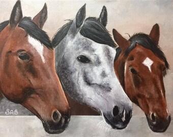 Three Lovely Horses, 11x14 acrylic painting