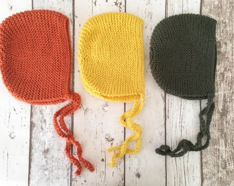 Traditional Baby Bonnets - A/W colours