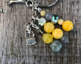 Owl Bag Charm, Owl Gifts, Keychains for Women, Purse Charm, Beaded Keychain, Owl Charm, Bag Charm, Keychain, Gift for Her, Yellow Beads