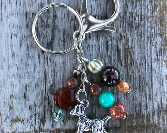 Keychains for Women, Dog Bag Charm, Dog Lover Gift, Purse Charms for Handbags, Beaded Keychain, Gift for Dog Owner, Gifts for Her, Dog Charm