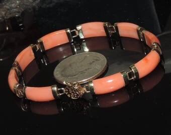 "VintageEstate 14K Yellow Gold Salmon Coral Link Bracelet 20.00 cts. 9.63 Grams 7"" Long"