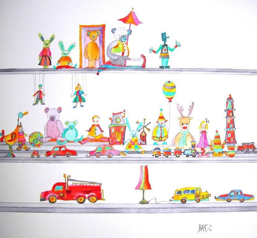 collection de jouets tableau pour chambre d 39 enfant. Black Bedroom Furniture Sets. Home Design Ideas