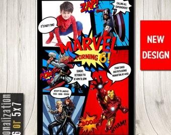 Superhero Invitation With Picture, Superhero Birthday Invitation, Superhero Comic Party, Superhero Comic Invitation, Avengers Invitation