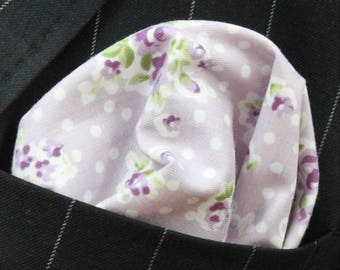 Hankie Pocket Square Handkerchief Lavender Floral - Premium Cotton - UK Made
