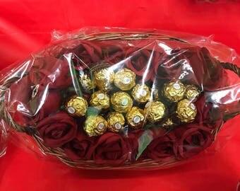Roses and Ferrero rocher basket