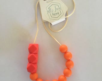 Silicone Beaded Orange & Red Necklace on Cord with Pop Clasp