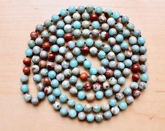 Knotted 8mm aqua jasper beads, 59 inches, natural stone beads, round, 80137